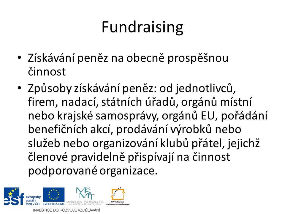Fundraising Získávání peněz na obecně prospěšnou činnost Způsoby získávání peněz: od jednotlivců, firem, nadací, státních úřadů, orgánů místní nebo kr
