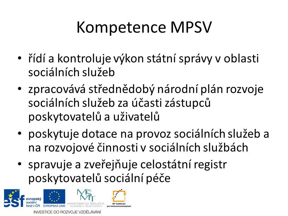Kompetence MPSV spravuje informační systém k příspěvku na péči, určuje tiskopis, v odvolacím řízení posuzuje stupeň závislosti žadatele o příspěvek stanovuje standardy kvality sociálních služeb rozhoduje o akreditacích k provádění inspekcí kvality sociálních služeb zřizuje akreditační komisi poradní orgán pro přidělování akreditací ke vzdělávání
