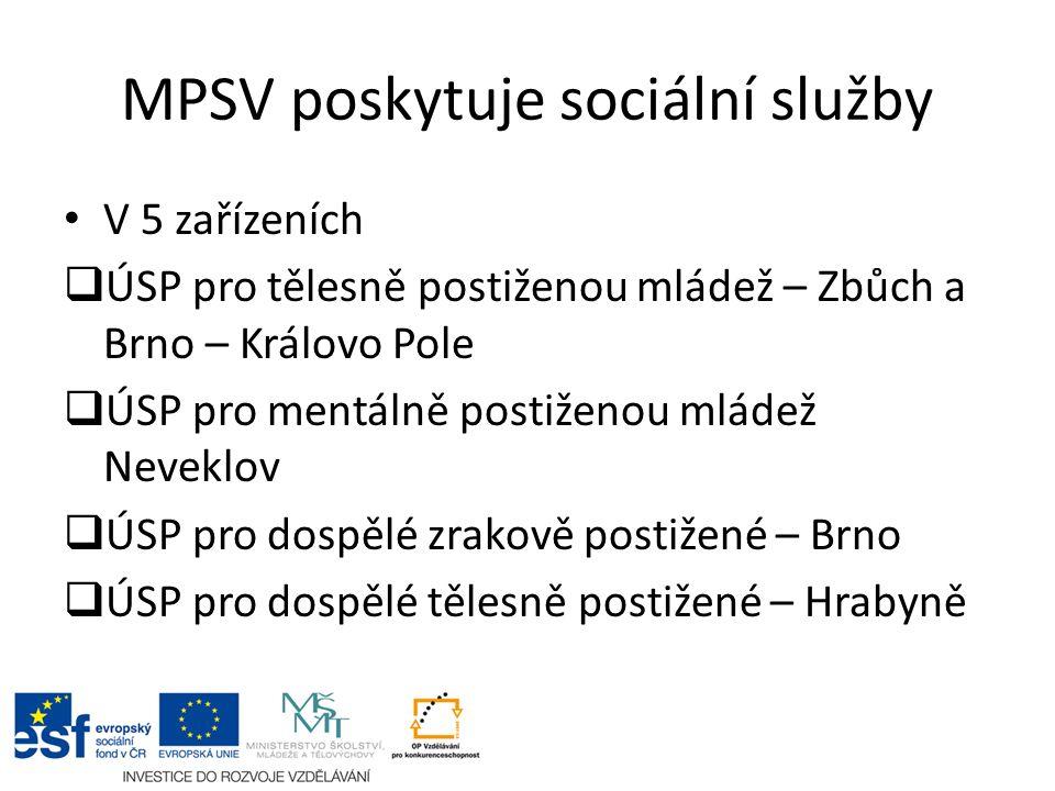 MPSV poskytuje sociální služby V 5 zařízeních  ÚSP pro tělesně postiženou mládež – Zbůch a Brno – Královo Pole  ÚSP pro mentálně postiženou mládež N