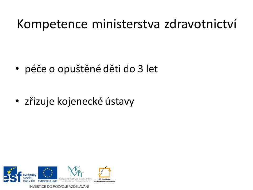Kompetence školství, mládeže a tělovýchovy péče o děti a mládež ve školských zařízeních přímý zřizovatel ochranné a ústavní výchovy (DD, DÚ, VÚ)