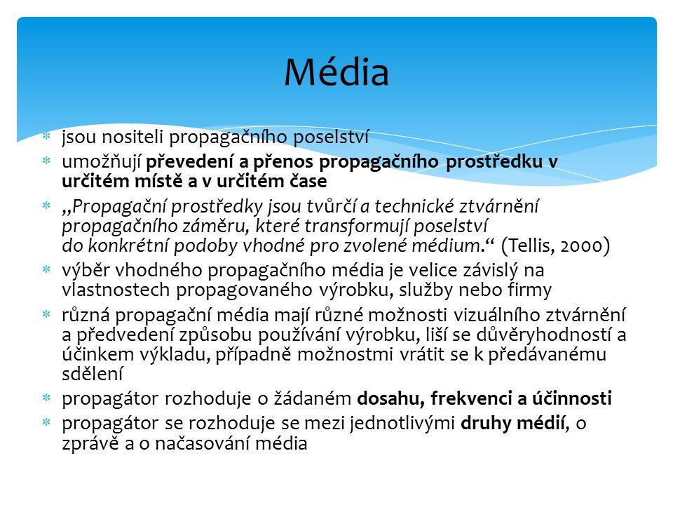 """ jsou nositeli propagačního poselství  umožňují převedení a přenos propagačního prostředku v určitém místě a v určitém čase  """"Propagační prostředky jsou tvůrčí a technické ztvárnění propagačního záměru, které transformují poselství do konkrétní podoby vhodné pro zvolené médium. (Tellis, 2000)  výběr vhodného propagačního média je velice závislý na vlastnostech propagovaného výrobku, služby nebo firmy  různá propagační média mají různé možnosti vizuálního ztvárnění a předvedení způsobu používání výrobku, liší se důvěryhodností a účinkem výkladu, případně možnostmi vrátit se k předávanému sdělení  propagátor rozhoduje o žádaném dosahu, frekvenci a účinnosti  propagátor se rozhoduje se mezi jednotlivými druhy médií, o zprávě a o načasování média Média"""