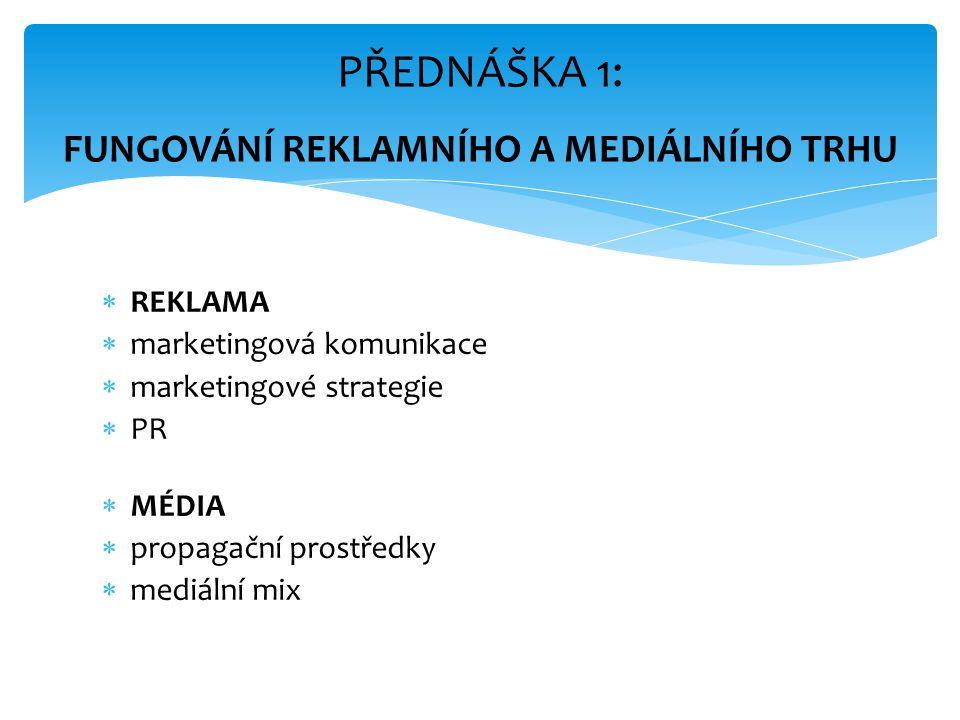  REKLAMA  marketingová komunikace  marketingové strategie  PR  MÉDIA  propagační prostředky  mediální mix PŘEDNÁŠKA 1: FUNGOVÁNÍ REKLAMNÍHO A MEDIÁLNÍHO TRHU