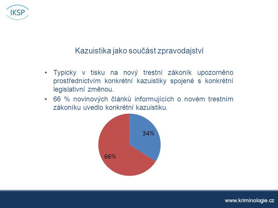 Kazuistika jako součást zpravodajství www.kriminologie.cz Typicky v tisku na nový trestní zákoník upozorněno prostřednictvím konkrétní kazuistiky spojené s konkrétní legislativní změnou.