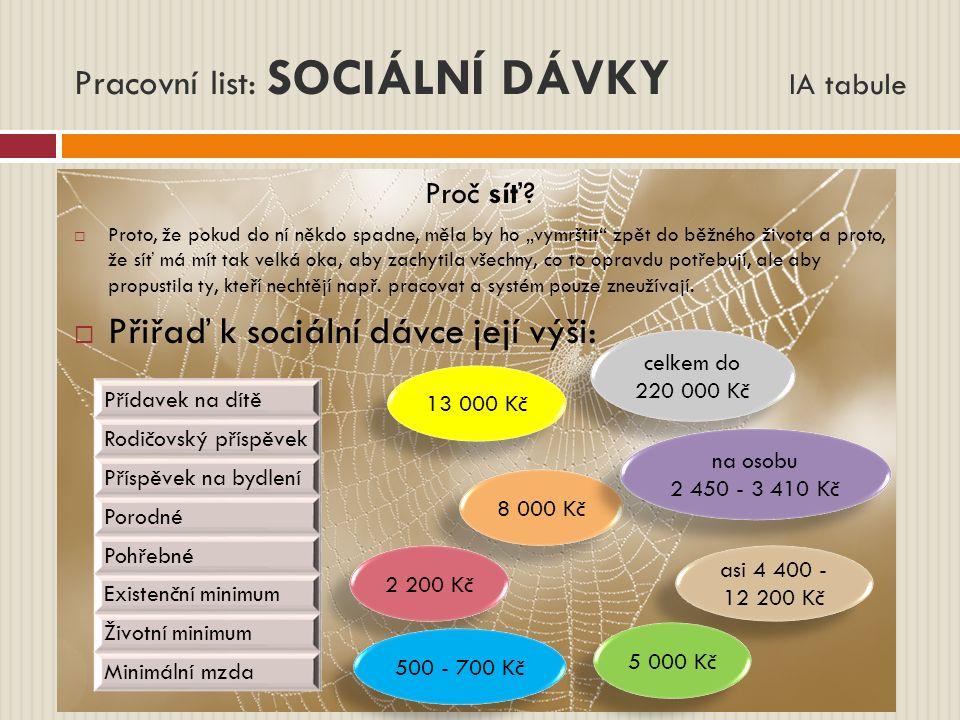 Pracovní list: SOCIÁLNÍ DÁVKY IA tabule Proč síť.