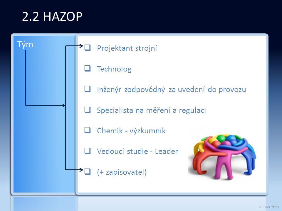 © IHAS 2011 2.2 HAZOP | Postup Vývojový diagram Popis systému a cíle analýzy Rozšířený Hazop Simulace procesu Související poruchy Strom událostí/ Strom poruch Bezpečnost / analýza rizik Bezpečnost / posouzení rizik Matrice rizik Stanovení limitních rizik StopRiziko > Limit rizika Definice a analýza alternativ systémové optimalizace – návrat ke kroku 1 Krok 1 Krok 2 Krok 3 Krok 4