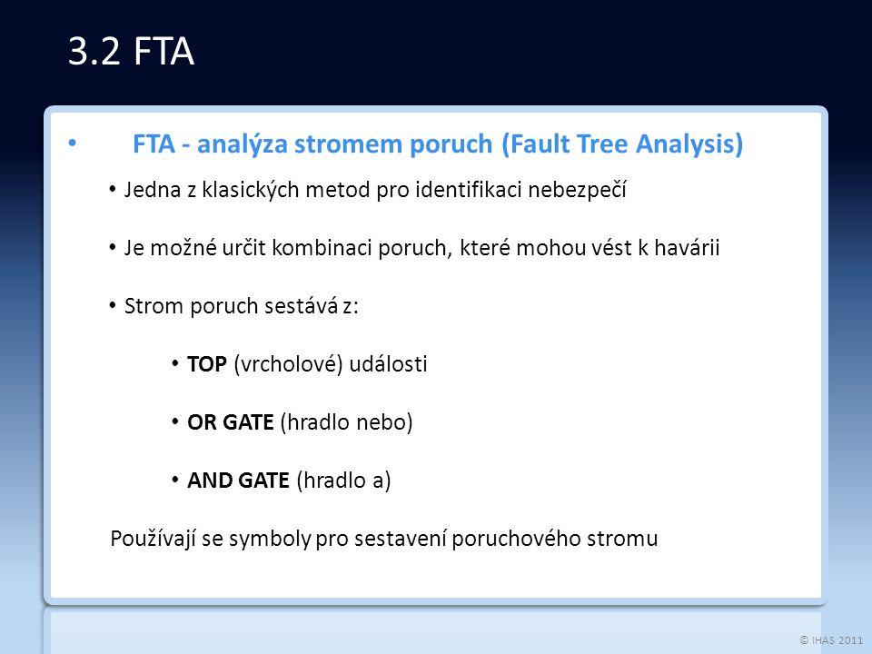 © IHAS 2011 FTA - analýza stromem poruch (Fault Tree Analysis) Jedna z klasických metod pro identifikaci nebezpečí Je možné určit kombinaci poruch, které mohou vést k havárii Strom poruch sestává z: TOP (vrcholové) události OR GATE (hradlo nebo) AND GATE (hradlo a) Používají se symboly pro sestavení poruchového stromu 3.2 FTA
