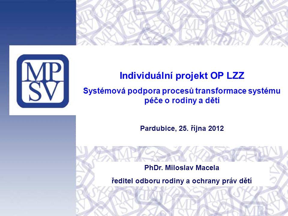 Individuální projekt OP LZZ Systémová podpora procesů transformace systému péče o rodiny a děti Pardubice, 25.