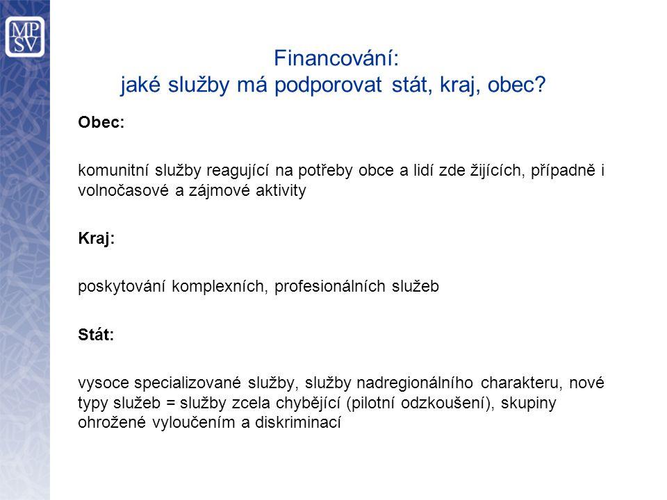 Financování: jaké služby má podporovat stát, kraj, obec.