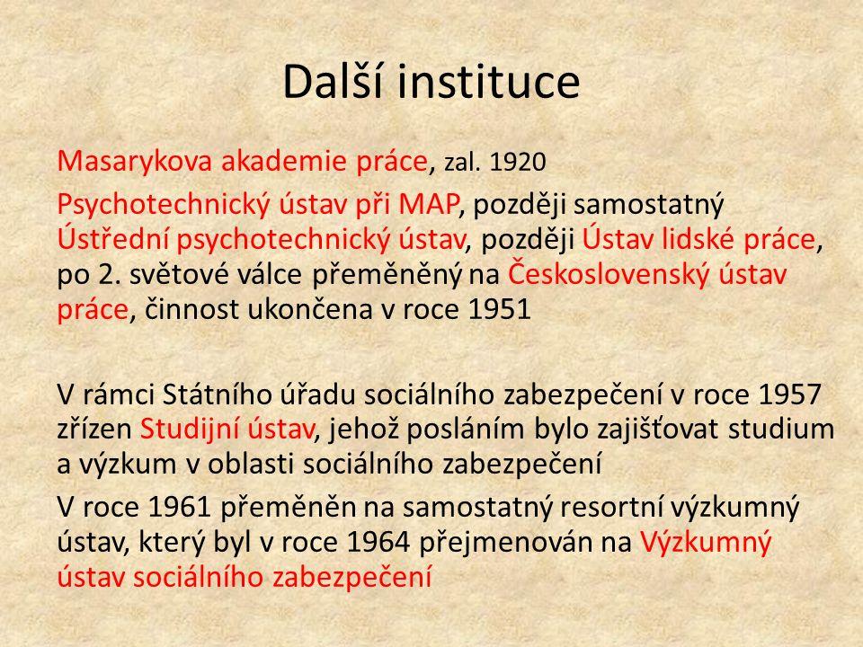 Další instituce Masarykova akademie práce, zal.