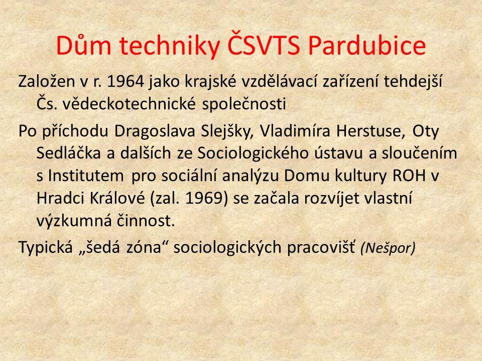 Dům techniky ČSVTS Pardubice Založen v r. 1964 jako krajské vzdělávací zařízení tehdejší Čs.