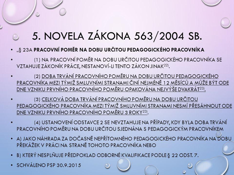 """5. NOVELA ZÁKONA 563/2004 SB. """"§ 23A PRACOVNÍ POMĚR NA DOBU URČITOU PEDAGOGICKÉHO PRACOVNÍKA (1) NA PRACOVNÍ POMĚR NA DOBU URČITOU PEDAGOGICKÉHO PRACO"""