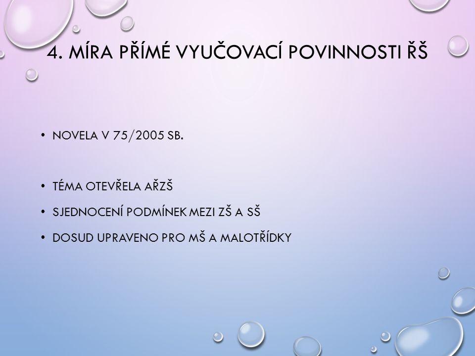 4. MÍRA PŘÍMÉ VYUČOVACÍ POVINNOSTI ŘŠ NOVELA V 75/2005 SB.