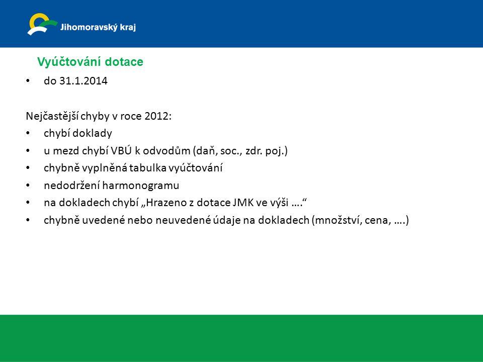 Vyúčtování dotace do 31.1.2014 Nejčastější chyby v roce 2012: chybí doklady u mezd chybí VBÚ k odvodům (daň, soc., zdr.