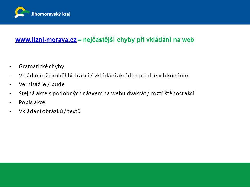 www.jizni-morava.czwww.jizni-morava.cz – nejčastější chyby při vkládání na web -Gramatické chyby -Vkládání už proběhlých akcí / vkládání akcí den před jejich konáním -Vernisáž je / bude -Stejná akce s podobných názvem na webu dvakrát / roztříštěnost akcí -Popis akce -Vkládání obrázků / textů