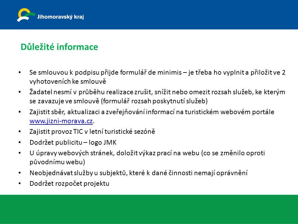 Důležité informace Se smlouvou k podpisu přijde formulář de minimis – je třeba ho vyplnit a přiložit ve 2 vyhotoveních ke smlouvě Žadatel nesmí v průběhu realizace zrušit, snížit nebo omezit rozsah služeb, ke kterým se zavazuje ve smlouvě (formulář rozsah poskytnutí služeb) Zajistit sběr, aktualizaci a zveřejňování informací na turistickém webovém portále www.jizni-morava.cz.