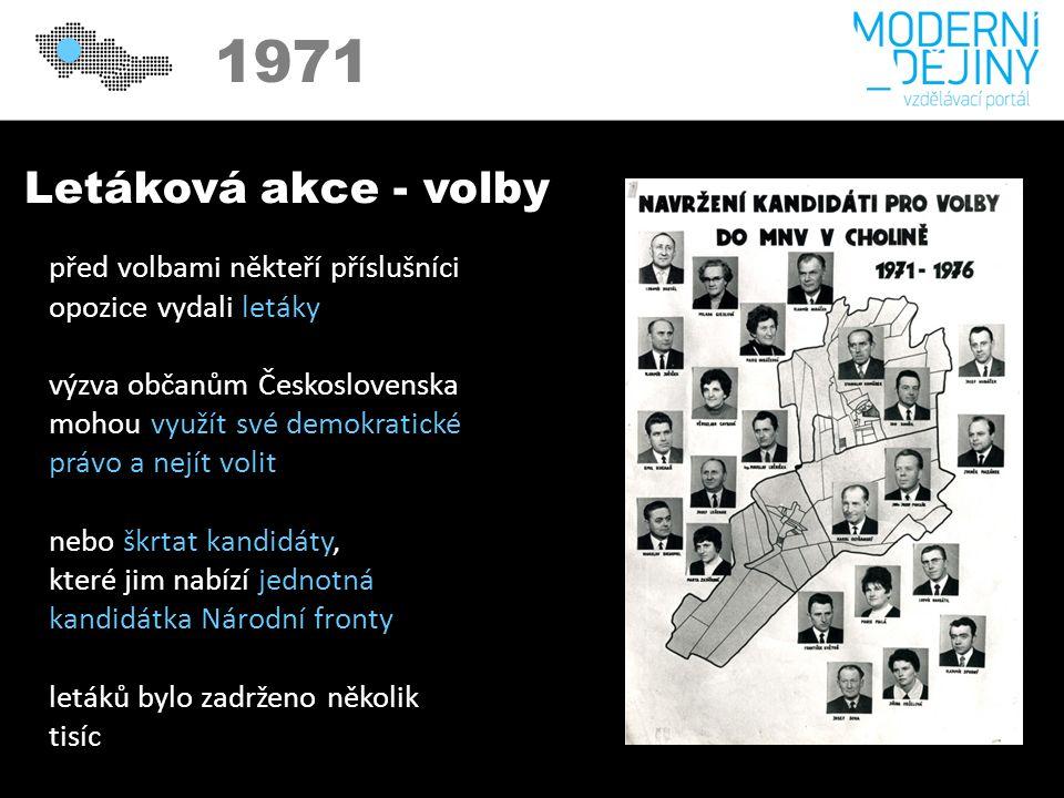 1971 Letáková akce - volby před volbami někteří příslušníci opozice vydali letáky výzva občanům Československa mohou využít své demokratické právo a nejít volit nebo škrtat kandidáty, které jim nabízí jednotná kandidátka Národní fronty letáků bylo zadrženo několik tisíc
