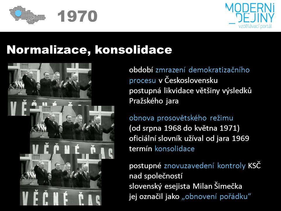 """Normalizace, konsolidace období zmrazení demokratizačního procesu v Československu postupná likvidace většiny výsledků Pražského jara obnova prosovětského režimu (od srpna 1968 do května 1971) oficiální slovník užíval od jara 1969 termín konsolidace postupné znovuzavedení kontroly KSČ nad společností slovenský esejista Milan Šimečka jej označil jako """"obnovení pořádku"""