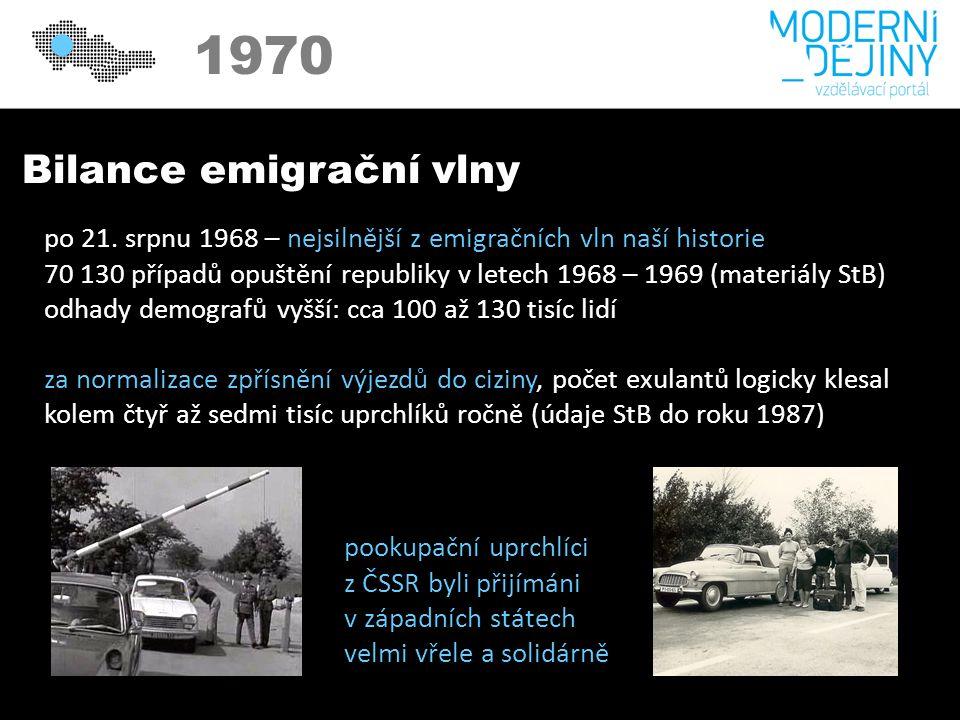 1970 Bilance emigrační vlny po 21.