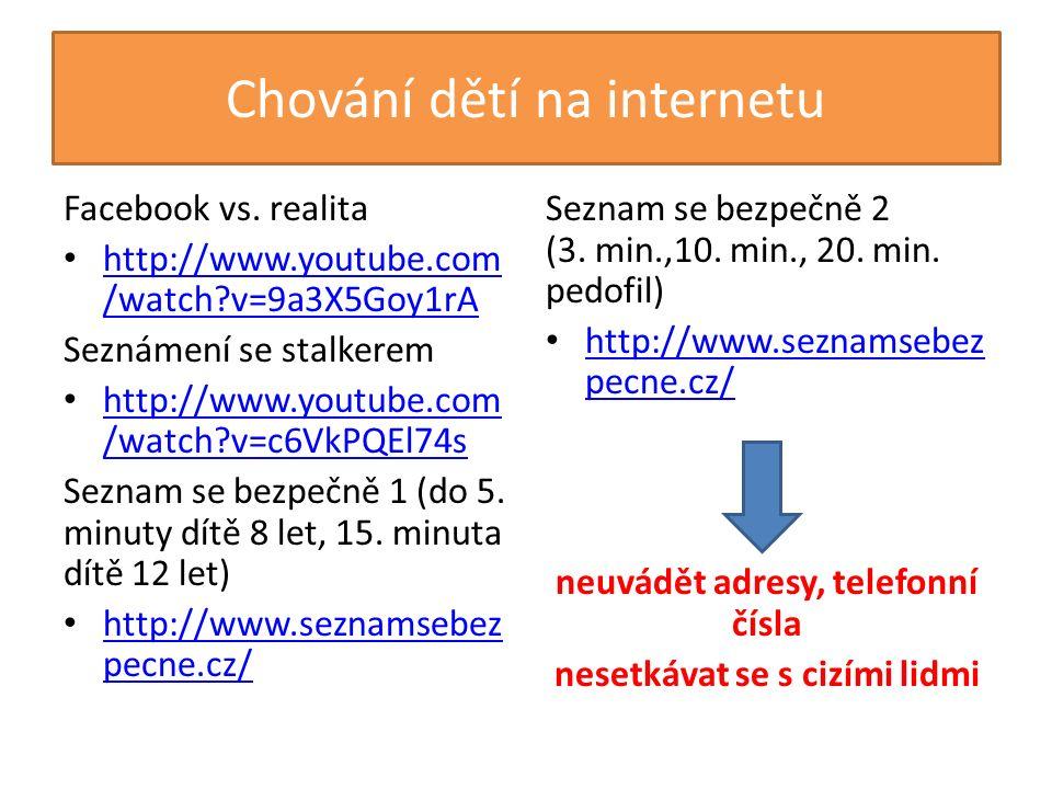 Chování dětí na internetu Facebook vs.