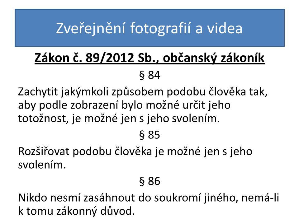 Zveřejnění fotografií a videa Zákon č.