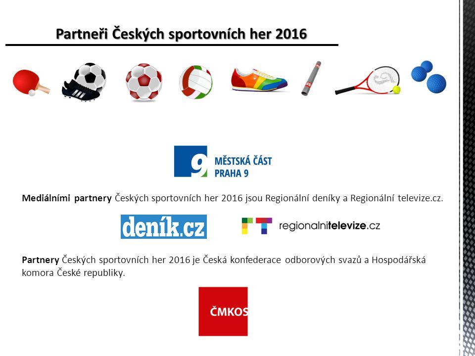 Partneři Českých sportovních her 2016 Mediálními partnery Českých sportovních her 2016 jsou Regionální deníky a Regionální televize.cz.