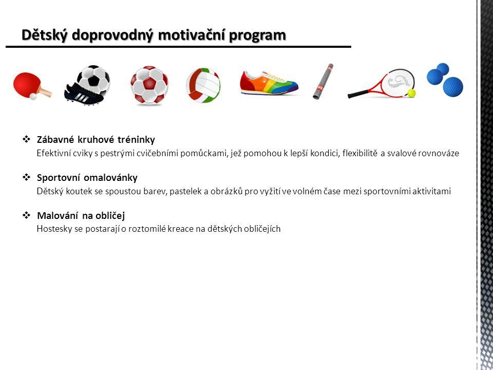 Dětský doprovodný motivační program Dětský doprovodný motivační program  Zábavné kruhové tréninky E fektivní cviky s pestrými cvičebními pomůckami, jež pomohou k lepší kondici, flexibilitě a svalové rovnováze  Sportovní omalovánky D ětský koutek se spoustou barev, pastelek a obrázků pro vyžití ve volném čase mezi sportovními aktivitami  Malování na obličej H ostesky se postarají o roztomilé kreace na dětských obličejích