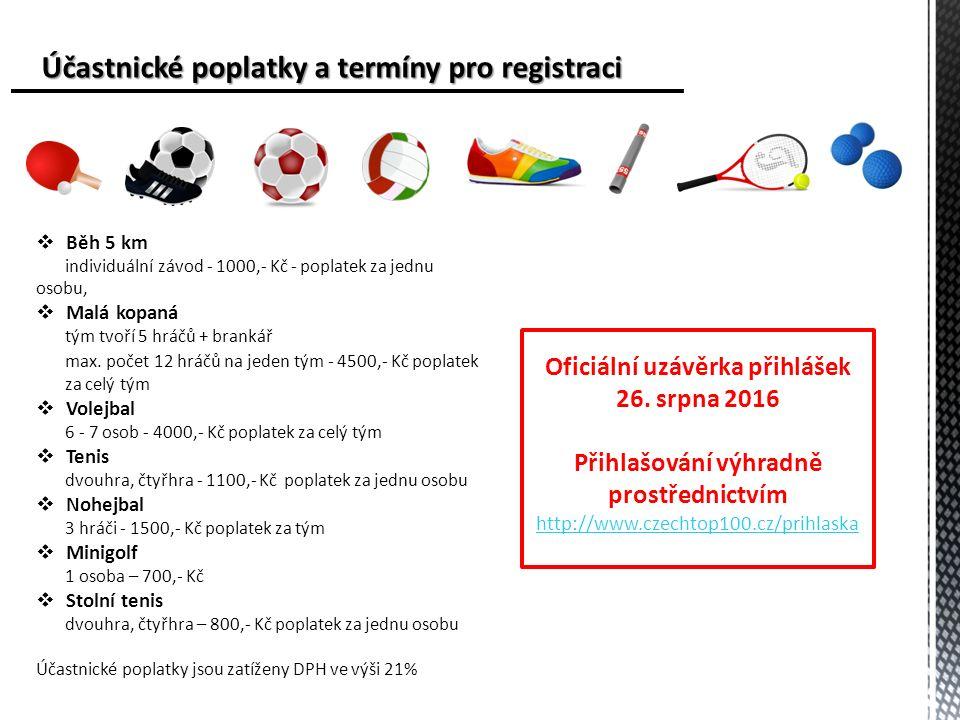 Účastnické poplatky a termíny pro registraci Účastnické poplatky a termíny pro registraci  Běh 5 km individuální závod - 1000,- Kč - poplatek za jednu osobu,  Malá kopaná tým tvoří 5 hráčů + brankář max.