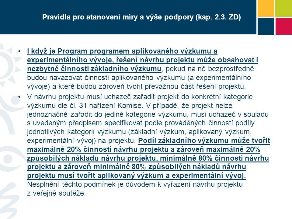 Pravidla pro stanovení míry a výše podpory (kap. 2.3.
