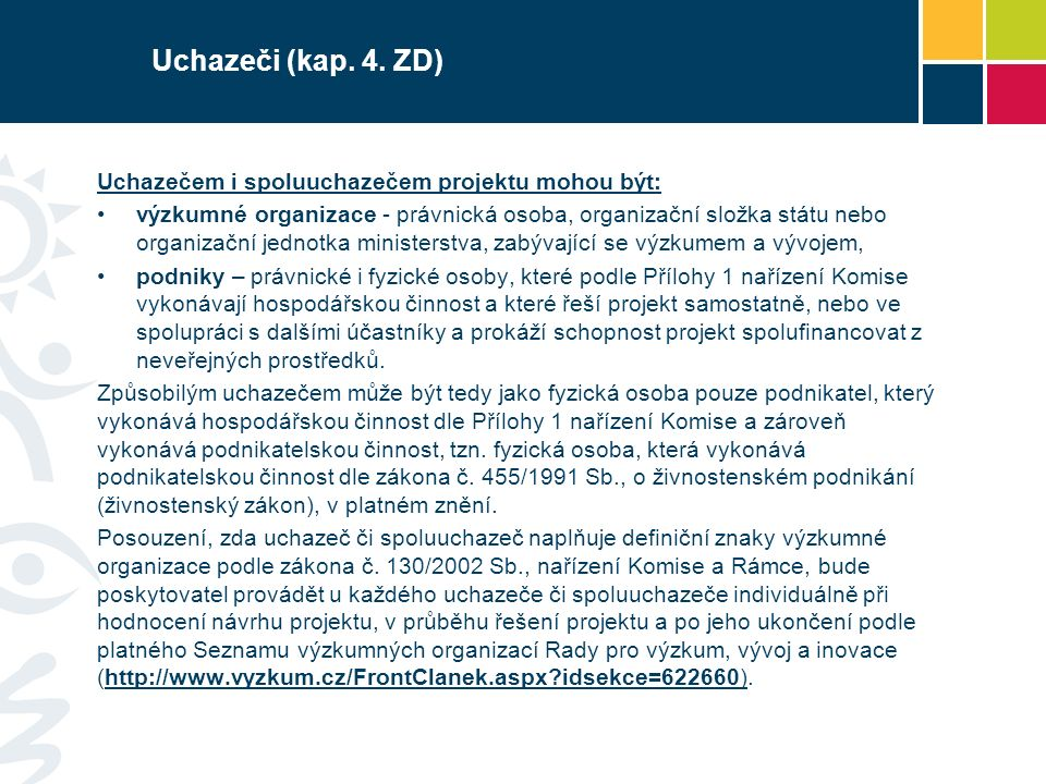 Uchazeči (kap. 4.