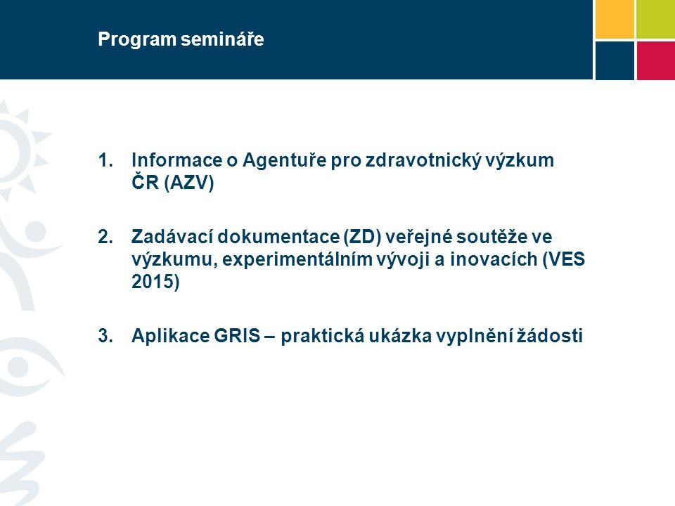 Program semináře  Informace o Agentuře pro zdravotnický výzkum ČR (AZV)  Zadávací dokumentace (ZD) veřejné soutěže ve výzkumu, experimentálním vývoji a inovacích (VES 2015)  Aplikace GRIS – praktická ukázka vyplnění žádosti