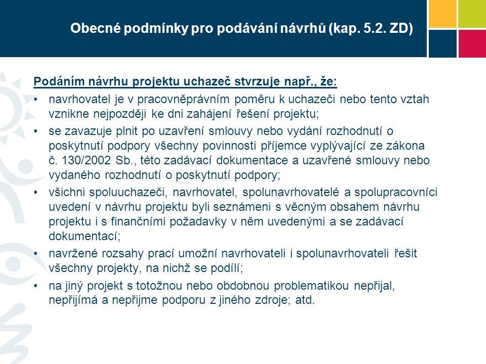 Obecné podmínky pro podávání návrhů (kap. 5.2.