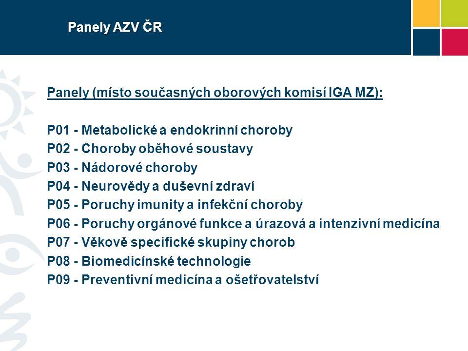 Panely AZV ČR Panely (místo současných oborových komisí IGA MZ): P01 - Metabolické a endokrinní choroby P02 - Choroby oběhové soustavy P03 - Nádorové choroby P04 - Neurovědy a duševní zdraví P05 - Poruchy imunity a infekční choroby P06 - Poruchy orgánové funkce a úrazová a intenzivní medicína P07 - Věkově specifické skupiny chorob P08 - Biomedicínské technologie P09 - Preventivní medicína a ošetřovatelství