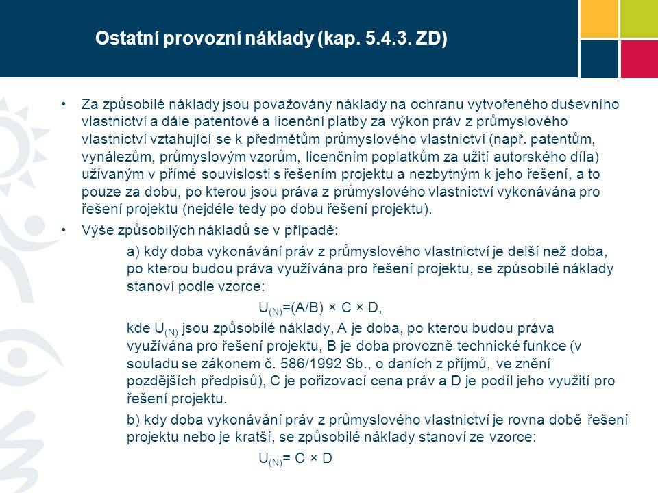 Ostatní provozní náklady (kap. 5.4.3.