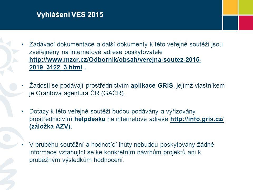 Vyhlášení VES 2015 Zadávací dokumentace a další dokumenty k této veřejné soutěži jsou zveřejněny na internetové adrese poskytovatele http://www.mzcr.cz/Odbornik/obsah/verejna-soutez-2015- 2019_3122_3.html.