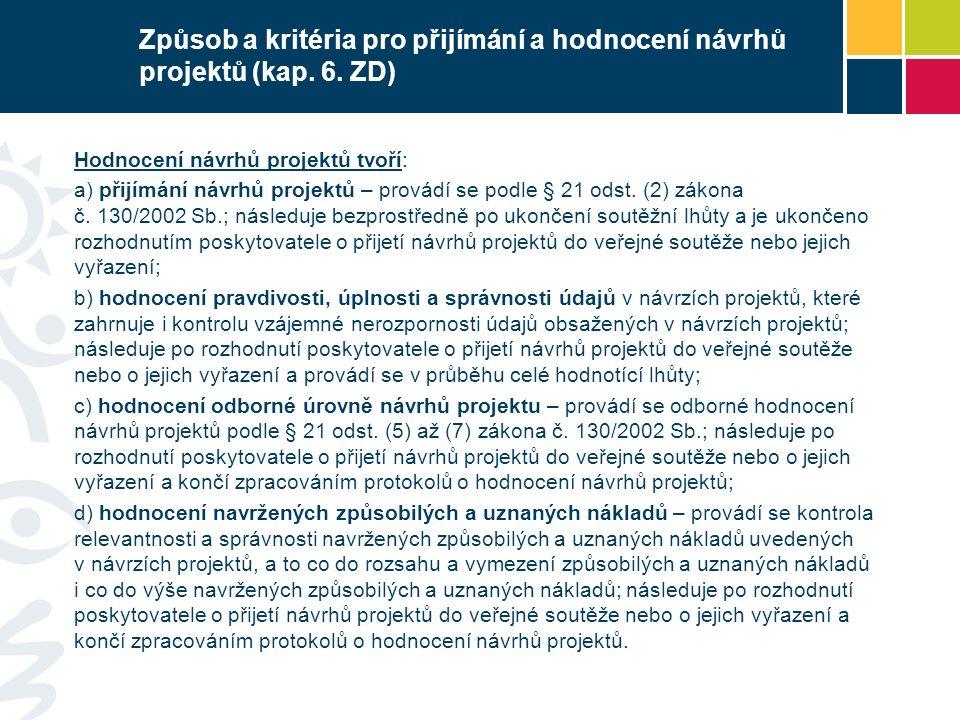 Způsob a kritéria pro přijímání a hodnocení návrhů projektů (kap.