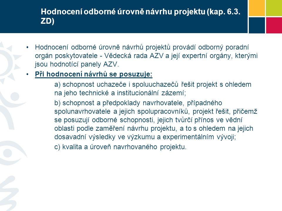 Hodnocení odborné úrovně návrhu projektu (kap.6.3.