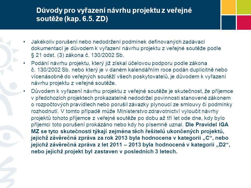 Důvody pro vyřazení návrhu projektu z veřejné soutěže (kap.