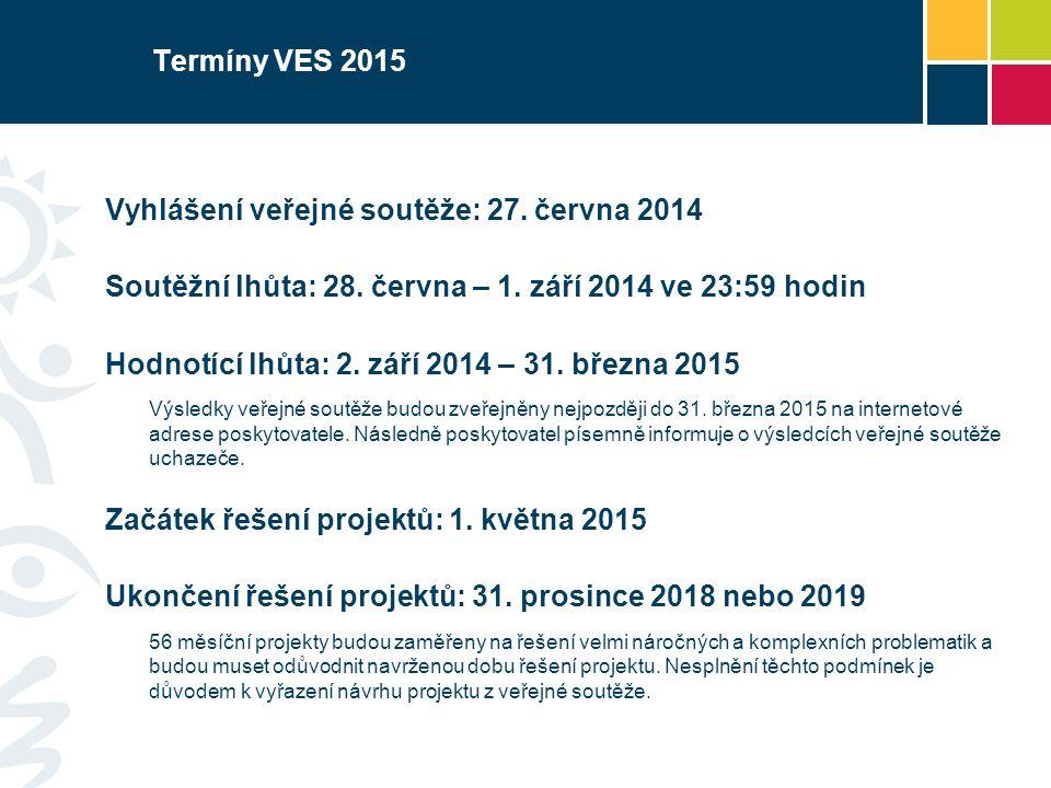 Termíny VES 2015 Vyhlášení veřejné soutěže: 27.června 2014 Soutěžní lhůta: 28.