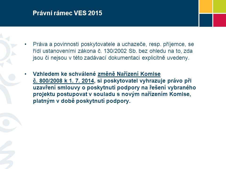 Právní rámec VES 2015 Práva a povinnosti poskytovatele a uchazeče, resp.