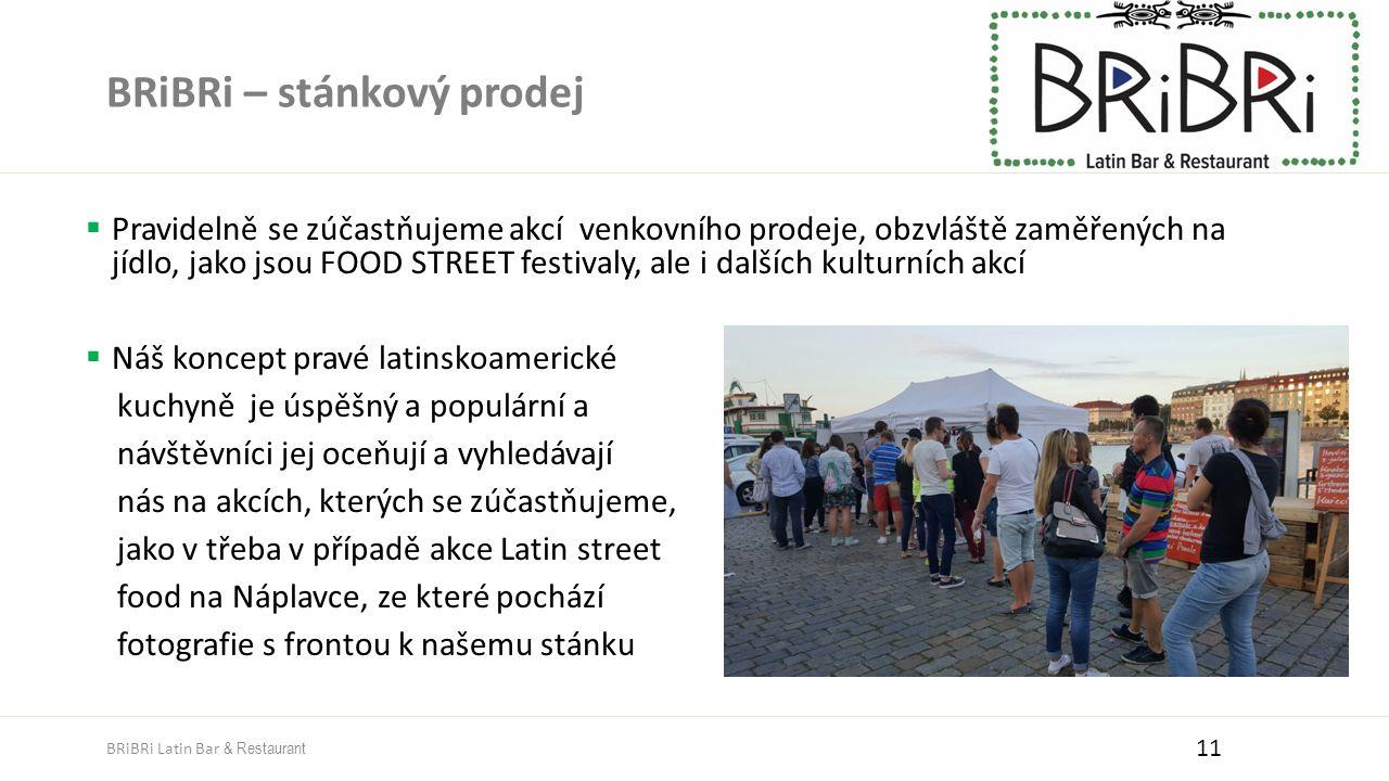 BRiBRi – stánkový prodej  Pravidelně se zúčastňujeme akcí venkovního prodeje, obzvláště zaměřených na jídlo, jako jsou FOOD STREET festivaly, ale i dalších kulturních akcí  Náš koncept pravé latinskoamerické kuchyně je úspěšný a populární a návštěvníci jej oceňují a vyhledávají nás na akcích, kterých se zúčastňujeme, jako v třeba v případě akce Latin street food na Náplavce, ze které pochází fotografie s frontou k našemu stánku 11 BRiBRi Latin Bar & Restaurant