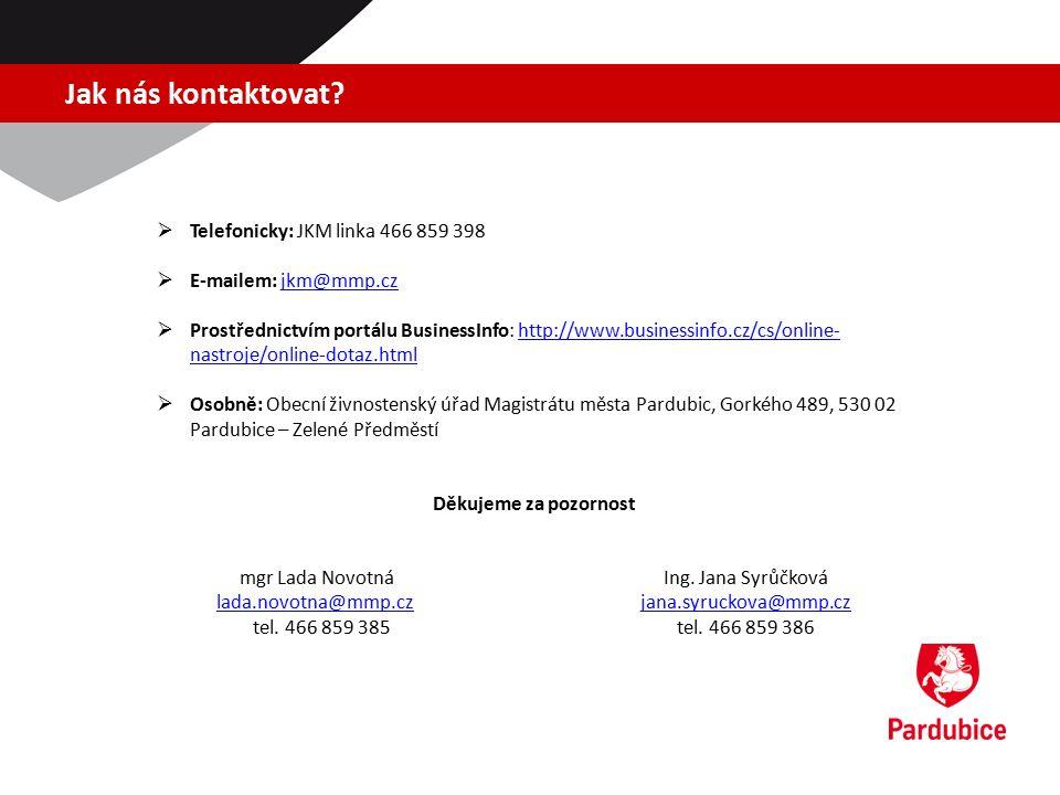 Jak nás kontaktovat?  Telefonicky: JKM linka 466 859 398  E-mailem: jkm@mmp.czjkm@mmp.cz  Prostřednictvím portálu BusinessInfo: http://www.business