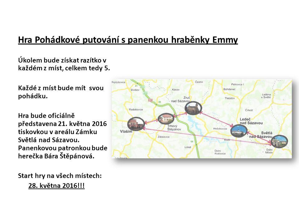 Hra Pohádkové putování s panenkou hraběnky Emmy Úkolem bude získat razítko v každém z míst, celkem tedy 5.
