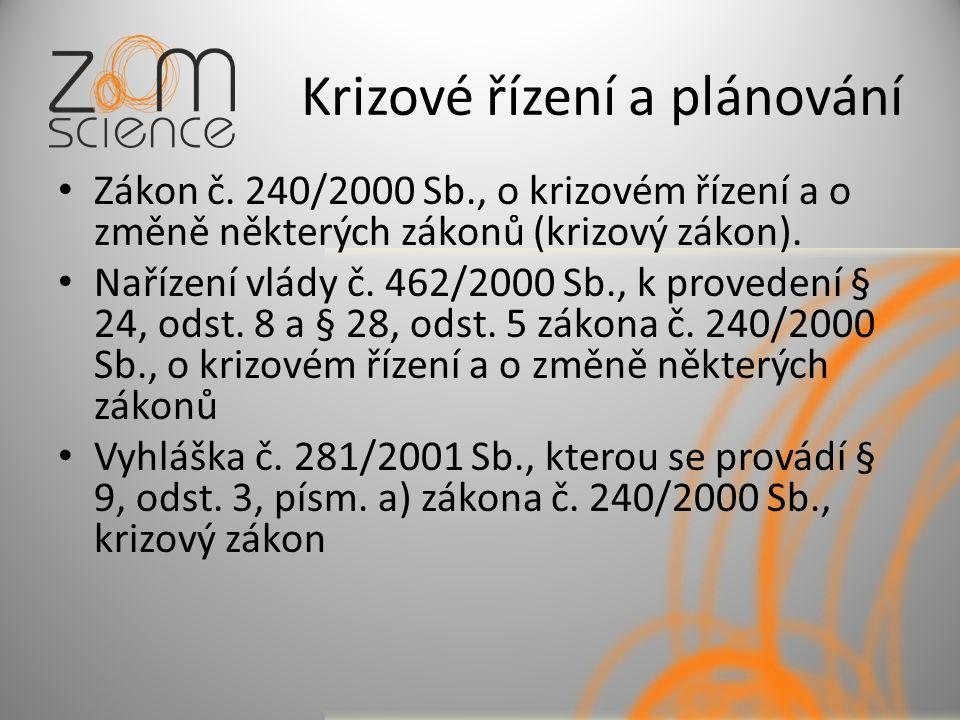 Krizové řízení a plánování Zákon č.