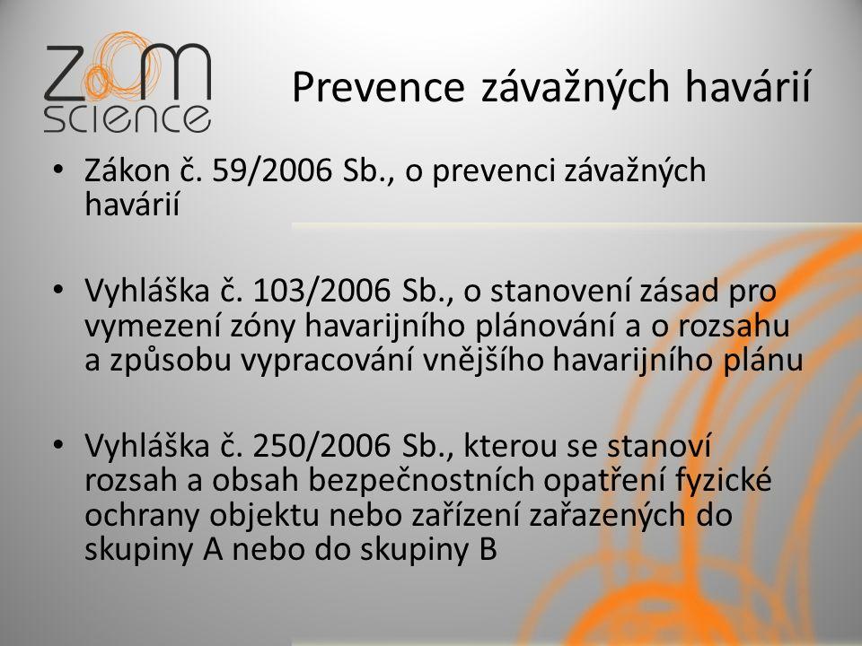 Prevence závažných havárií Zákon č. 59/2006 Sb., o prevenci závažných havárií Vyhláška č.