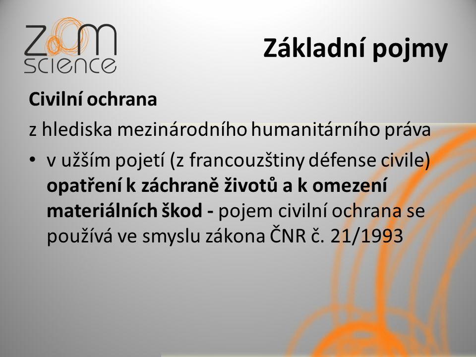 Základní pojmy Civilní obrana v širším pojetí (z francouzštiny protection civile) Veškerá opatření k národní obraně nemající vojenský charakter, např.