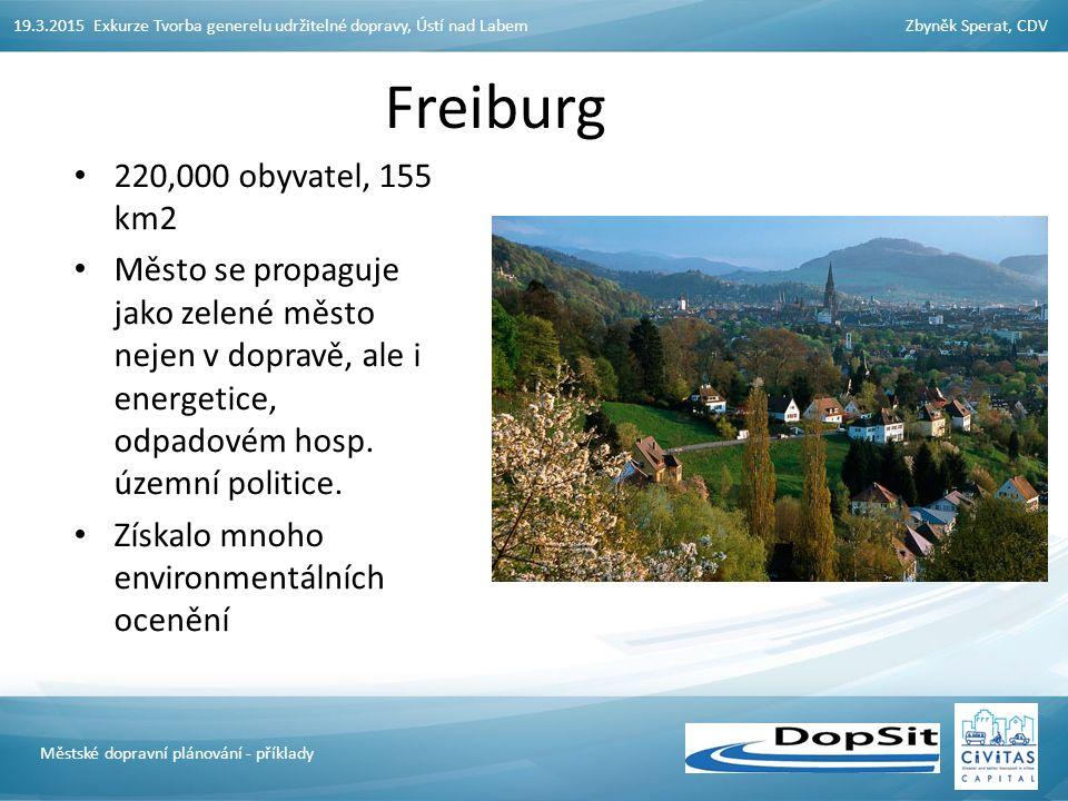 19.3.2015 Exkurze Tvorba generelu udržitelné dopravy, Ústí nad LabemZbyněk Sperat, CDV Městské dopravní plánování - příklady Freiburg 220,000 obyvatel, 155 km2 Město se propaguje jako zelené město nejen v dopravě, ale i energetice, odpadovém hosp.