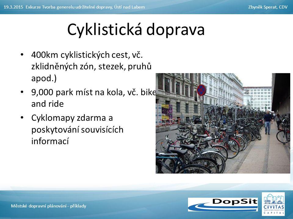 19.3.2015 Exkurze Tvorba generelu udržitelné dopravy, Ústí nad LabemZbyněk Sperat, CDV Městské dopravní plánování - příklady Cyklistická doprava 400km cyklistických cest, vč.