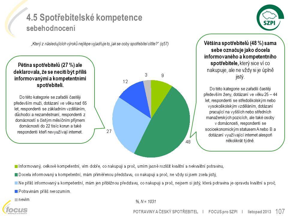 """POTRAVINY A ČESKÝ SPOTŘEBITEL l FOCUS pro SZPI l listopad 2013 4.5 Spotřebitelské kompetence sebehodnocení 107 """"Který z následujících výroků nejlépe vyjadřuje to, jak se coby spotřebitel cítíte (q57) %, N = 1031 Většina spotřebitelů (48 %) sama sebe označuje jako docela informovaného a kompetentního spotřebitele, který sice ví co nakupuje, ale ne vždy si je úplně jistý."""