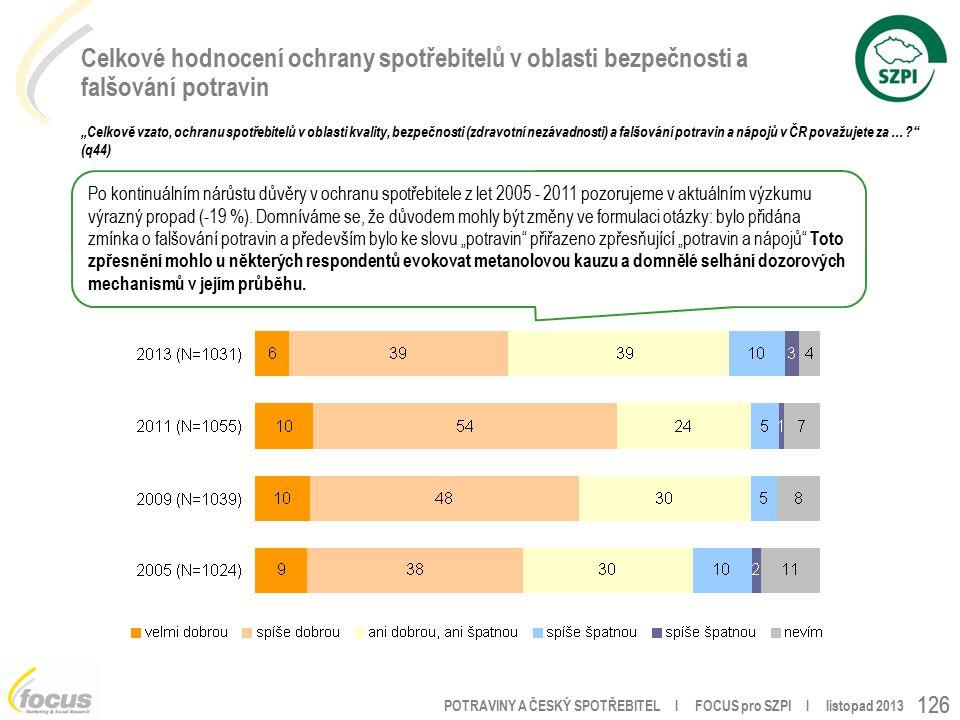 """POTRAVINY A ČESKÝ SPOTŘEBITEL l FOCUS pro SZPI l listopad 2013 126 Celkové hodnocení ochrany spotřebitelů v oblasti bezpečnosti a falšování potravin """"Celkově vzato, ochranu spotřebitelů v oblasti kvality, bezpečnosti (zdravotní nezávadnosti) a falšování potravin a nápojů v ČR považujete za … (q44) Po kontinuálním nárůstu důvěry v ochranu spotřebitele z let 2005 - 2011 pozorujeme v aktuálním výzkumu výrazný propad (-19 %)."""