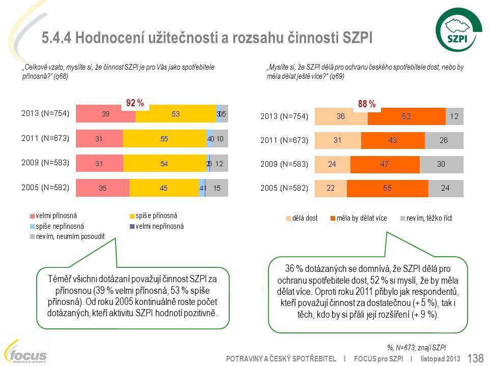 """POTRAVINY A ČESKÝ SPOTŘEBITEL l FOCUS pro SZPI l listopad 2013 138 5.4.4 Hodnocení užitečnosti a rozsahu činnosti SZPI """"Celkově vzato, myslíte si, že činnost SZPI je pro Vás jako spotřebitele přínosná (q68) %, N=673; znají SZPI """"Myslíte si, že SZPI dělá pro ochranu českého spotřebitele dost, nebo by měla dělat ještě více (q69) 92 % 88 % Téměř všichni dotázaní považují činnost SZPI za přínosnou (39 % velmi přínosná, 53 % spíše přínosná)."""